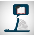online learning open book cap graduation education vector image vector image