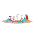 planting fruit trees isolated man and woman vector image