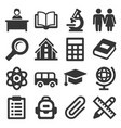 school icons set on white background vector image vector image