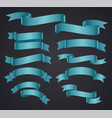 set of blue curved ribbon or banner vector image vector image