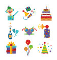 set of colorful celebration icons in flat style vector image