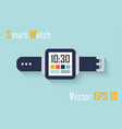 smart watch flat design and blue background vector image