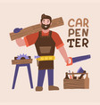 smiling bearded carpenter holding hand saw and vector image