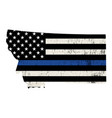 state montana police support flag vector image vector image