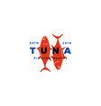 tuna fish logo emblem label seafood icon vector image