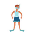 young man shorts snorkelling mask flipper vector image
