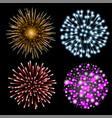 set of colorful fireworks vector image
