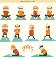 Old people yoga icons isolated vector image