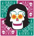 woman mexican skull vector image