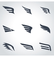 black wing icon set vector image