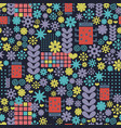 abstract seamless pattern with geometric flowers vector image