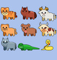 assorted cute animal vector image vector image