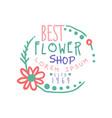 best flower shop logo estd 1969 badge for floral vector image vector image