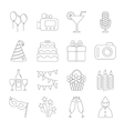 Birthday party line icons vector image vector image