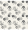 Black and white palm prints Seamless background vector image