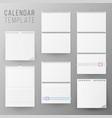calendar template set realistic calendar vector image vector image