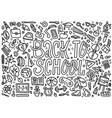 cartoon cute doodles back to school word black vector image vector image