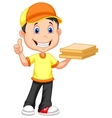 Cartoon Delivery boy bringing a cardboard pizza bo vector image