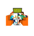 cartoon football party at bar with beer and snack vector image