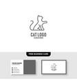 cat logo line outline monoline vector image