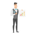 caucasian groom showing financial chart vector image vector image