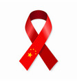 chinese flag stripe ribbon on white background vector image vector image