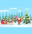 christmas tree santa claus with reindeer sleigh vector image vector image