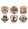 coffee icons with espresso cup and bean vector image