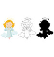 cute angel in color and in outline and silhouette vector image vector image