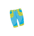 cute baby denim pants with button and green vector image