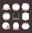 cute floral flowers badges vintade vector image vector image