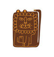 cute stylized lion front view hand drawn design vector image
