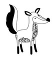 fox cartoon in black dotted silhouette vector image