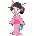 geisha in pink dress vector image