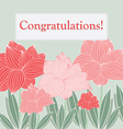 gentle greeting card with scarlet flowers vector image vector image