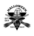 halloween emblem with witch hat and brooms vector image vector image
