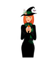 halloween of young witch with long ginger hair vector image