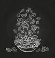 hand drawn salad isolated on chalkboard background vector image