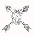 heart and arrow element for tattoo sketc vector image