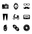 hipster category icons set simple style vector image vector image