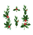 holly branches decor set vector image