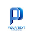 initial letter p logo template colored blue vector image vector image