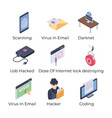 internet security icons set vector image