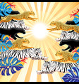 jumping panthers tigers and cheetahs on a sunny vector image