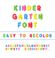 kindergarten font folded paper cut typeface vector image vector image