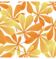 leaves of chestnut yellowed foliage autumnal vector image vector image