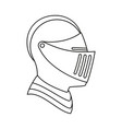 line art black and white knight helmet vector image vector image