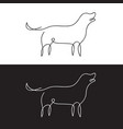 line design silhouette of dog on white background vector image vector image