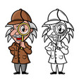 mascot detective with magnifier vector image vector image
