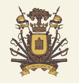 medieval heraldic coat arms in vintage style vector image